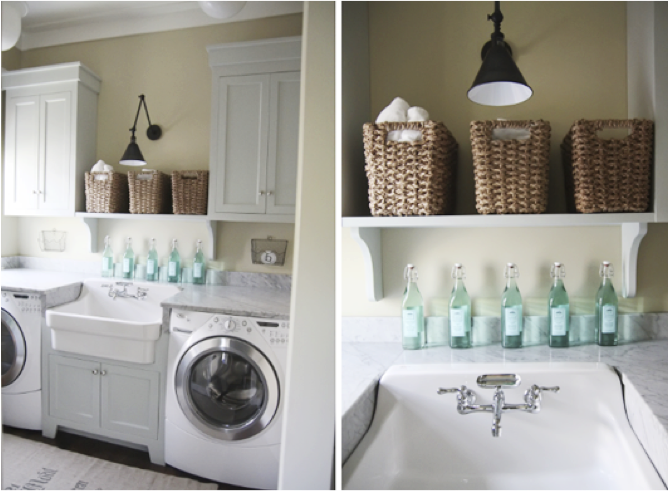 this mod inspired laundry room is a sleek way to use a small space the metallic partition takes your focus off of the mechanical boxes and on the beautiful chic laundry room